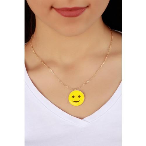 Çınar E-Ticaret Trend Gülen İfade Kadın Emoji Kadın Kolye