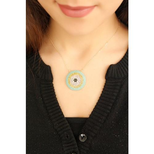 Çınar E-Ticaret Mint Renk Sarı Tasarımlı Kadın Kolye