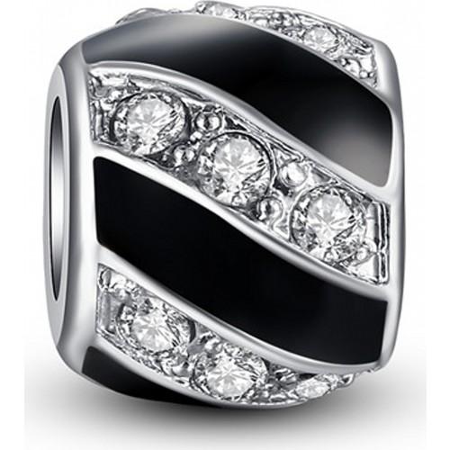 Angemiel Siyah Beyaz Kristal Charm