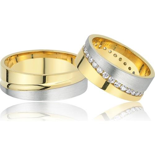 Allegro Gold El İşi Gümüş Çift Alyans AG0003