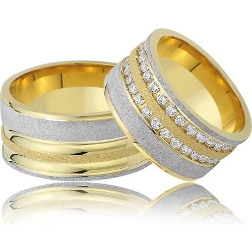 Allegro Gold El İşi Gümüş Çift Alyans AG0008