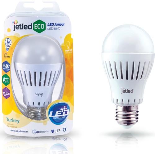 Jetled Yüksek Verimli Led Ampul 3W 250 Lümen E27 Sarı Işık