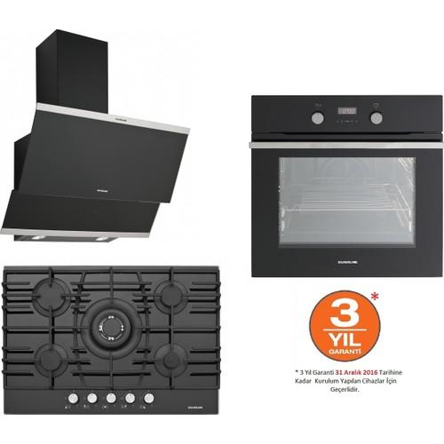 Silverline Ankastre Set (BO6209B01 Ankastre Fırın+ CS5223B01 Ankastre Ocak+ 3420 Classy 60 cm Siyah Davlumbaz)
