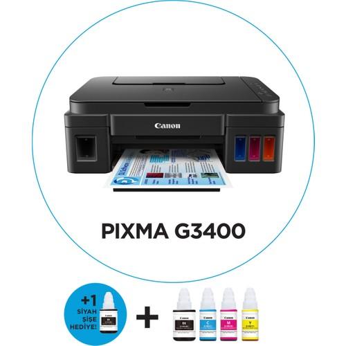 Canon Pixma G3400 Tarayıcı + Fotokopi + Wi-Fi Mürekkep Tanklı Yazıcı