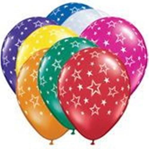 Balon Evi Yıldız Desenli Karışık Balon -10 Adet