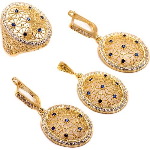 Sümer Telkari Yeni Nesil Altın Yaldızı Gümüş Set 1126