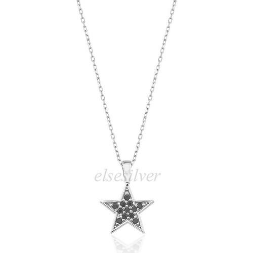 Else Silver Siyah Taşlı Yıldız Kolye