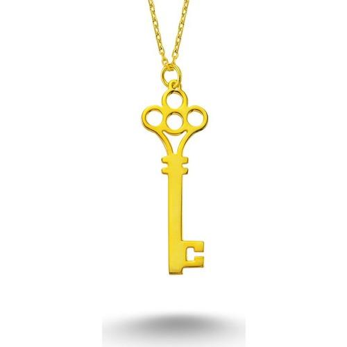 Else Silver Sarı Anahtar Kolye