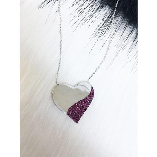 Else Silver Şeffaf Kalp Gümüş Kolye