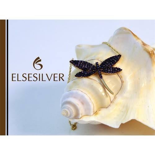 Else Silver Mor Taşlı Yusufçuk Kolye