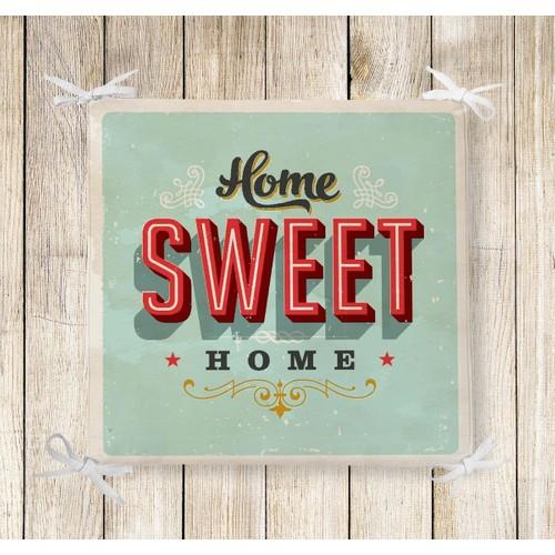 RealHomes Home Sweet Home Dekoratif Kare Sandalye Minderi