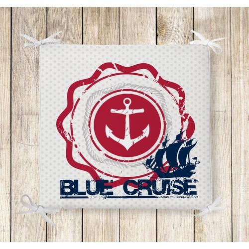 RealHomes Blue Cruse Dekoratif Kare Sandalye Minderi
