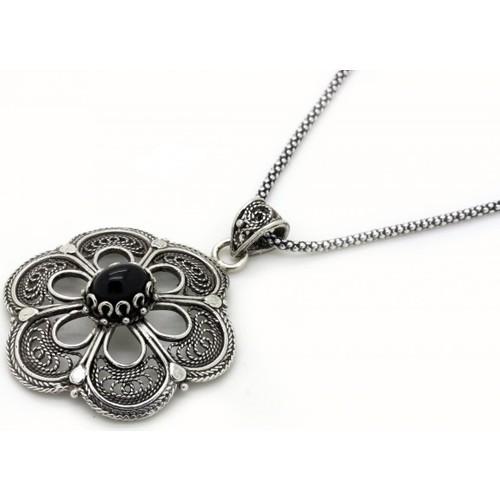 Tesbihci Dede Gümüş Zincir Hediyeli Telkari Oltu Taşı Gümüş Kolye