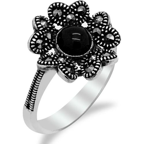 Tesbihci Dede Çiçek Motifli Oltu Taşlı Gümüş Bayan Yüzük