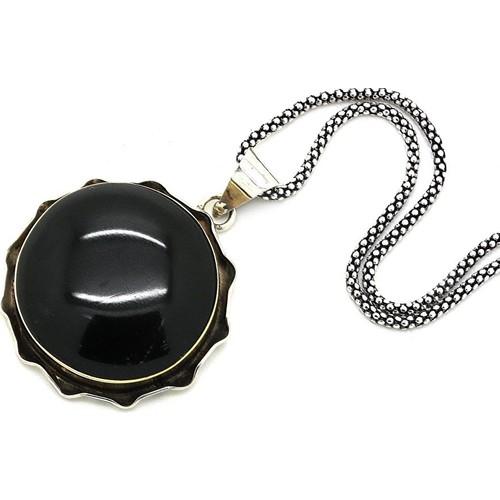 Tesbihci Dede Oltu Taşlı Oval Gümüş Kolye