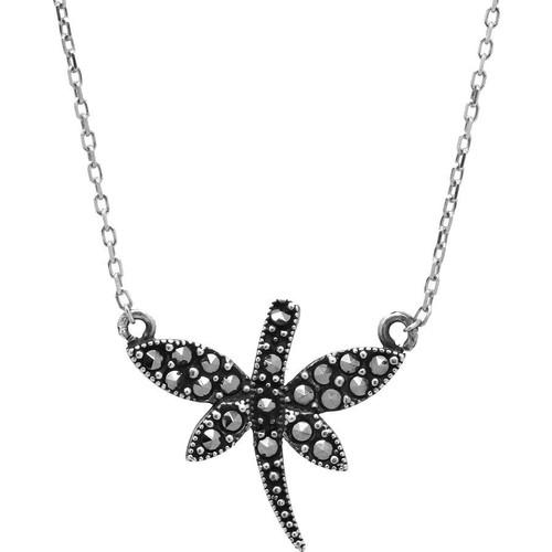 Tesbihci Dede 925 Ayar Gümüş Siyah Zirkon Taşlı Yusufçuk Model Kolye
