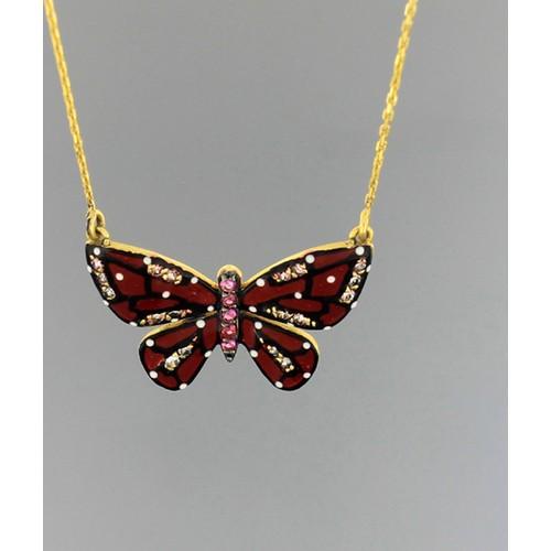 Tuğrul Kuyumculuk Mineli Altın Kelebek Kolye