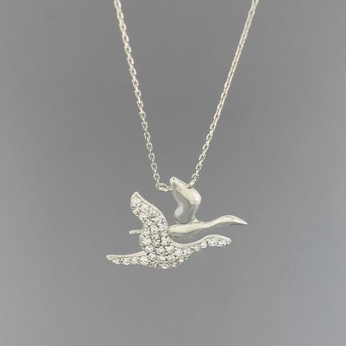 Tuğrul Kuyumculuk Beyaz Altın Kuş Kolye