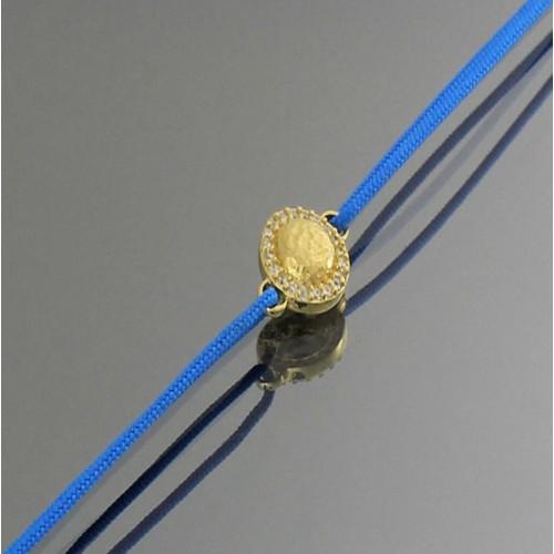 Tuğrul Kuyumculuk Mavi İpli Taşlı Altın Bileklik