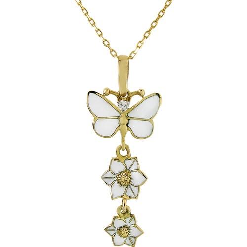 Tuğrul Kuyumculuk Çiçekli Kelebekli Taşlı Altın Kolye