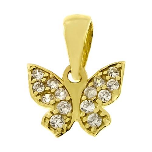 Tuğrul Kuyumculuk Kelebek Taşlı Yeşil Altın Kolye Ucu