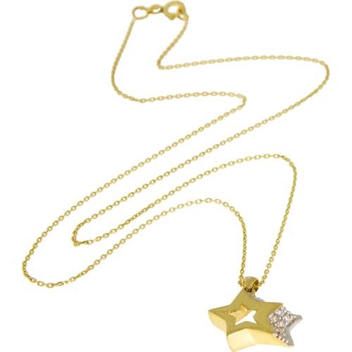 Tuğrul Kuyumculuk Üç Boyutlu Yıldız Yeşil Altın Kolye