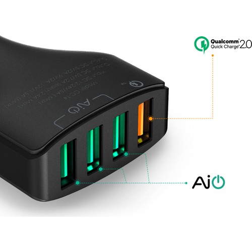 Aukey 4 Ports Usb Turbo Car Charger + Qualcomm Quickcharge 2.0 Technology