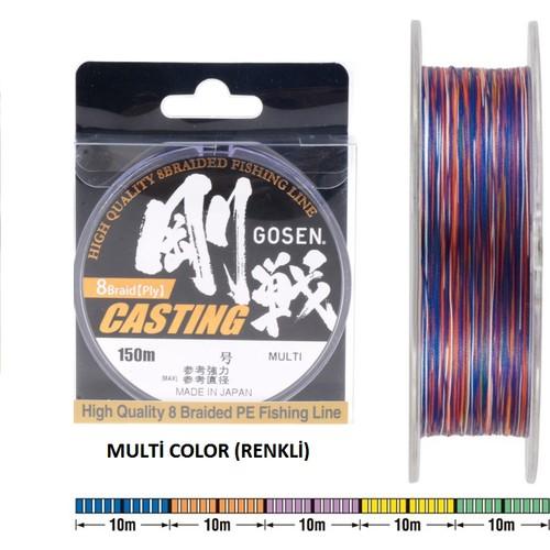 Gosen W-8 Pe Casting 8 Kat Renkli Örgü Misina Pe 2,0 / 0,242 Mm