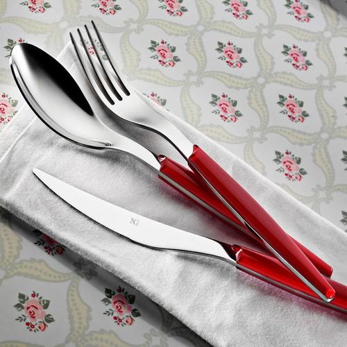 Kütahya Porselen 30 Parça Çatal Kaşık Bıçak Seti Kırmızı