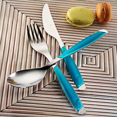 Kütahya Porselen 30 Parça Çatal Kaşık Bıçak Seti Turkuaz