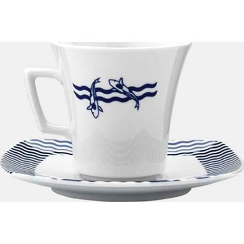 Kütahya Porselen Marin Serisi 5339 Desen Çay Fincanı Tabaklı