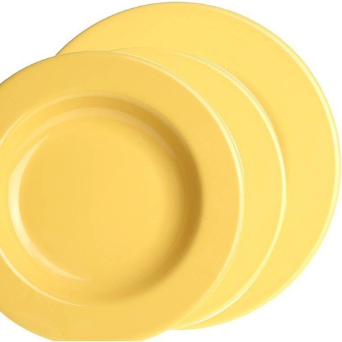 Naturaceram Kütahya Porselen Selen 6 Kişilik 18 Parça Sarı Yemek Seti