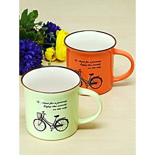 Kitchen Love 2 Adet Porselen Bisiklet Desenli Kupa