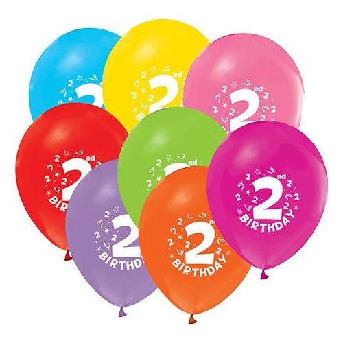Balon Evi Karışık Renkli 2 Yaş Desenli Balon -10 Adet