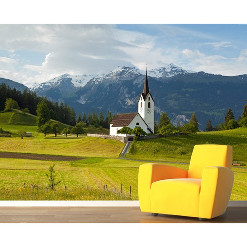 İsviçre Alpler Duvar Sticker 250x250cm