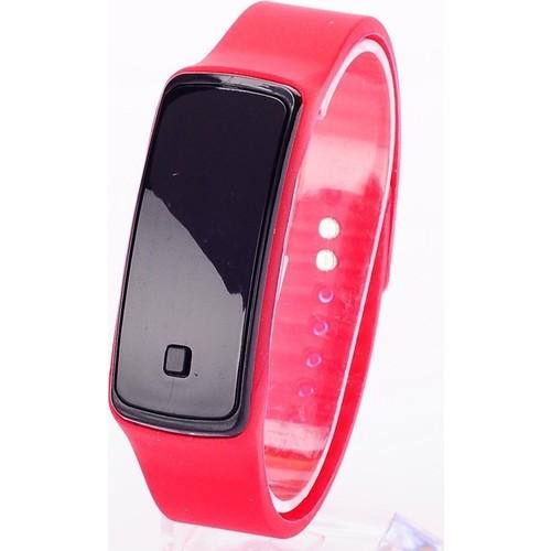 Pratik Siyah Ekranlı Led Kol Saati (Kırmızı)