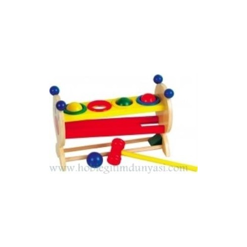 Hobi Eğitim Dünyası 4 Renkli Top Ve Ahşap Çekiç