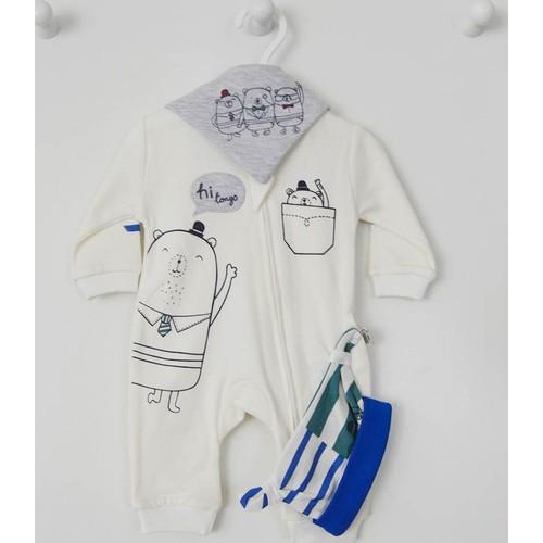 Tongs Baby T-1019 Fermuarlı Erkek Bebek Tulum Takım