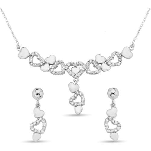Argentum Concept Zirkon Taşlı Kalpli Gümüş Set