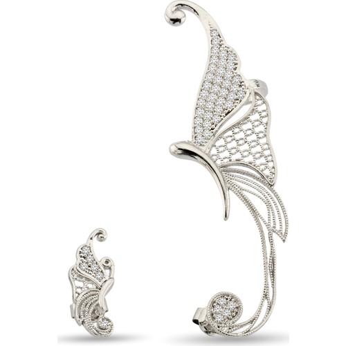 Argentum Concept Zirkon Taşlı Gümüş Kelebek Küpe