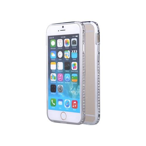 CaseUp iPhone 6 Plus Taşlı Metal Bumper Kılıf Kırılmaz Cam