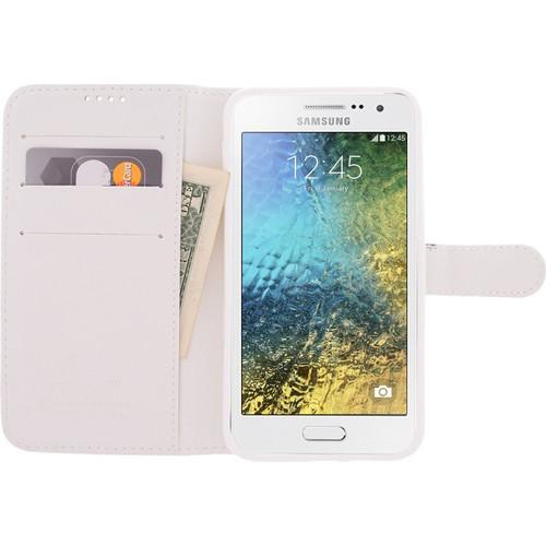 CaseUp Samsung Galaxy E5 Kılıf Cüzdanlı Suni Deri Kırılmaz Cam