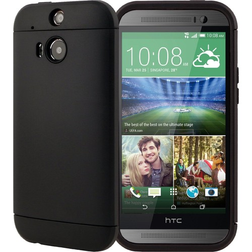 CaseUp Slim Fit Dual Layer Armor HTC One M8 Kılıf Siyah Cam