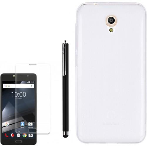 Gpack Vodafone Smart Style 7 Kılıf 0.2Mm Silikon + Kalem + Kırılmaz Cam