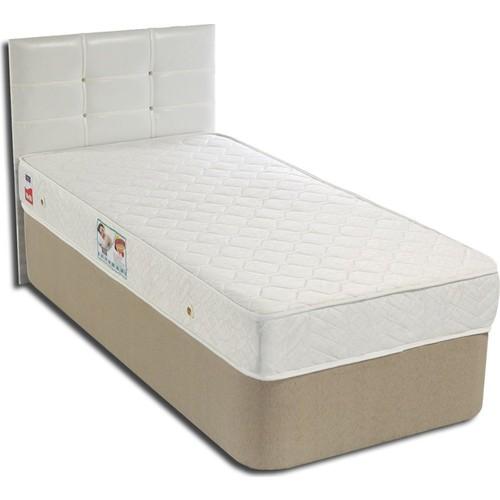 Tek Kişilik Sandıklı Kumaş Baza + Başlık + Yatak Full Set - 90X190 Beyaz
