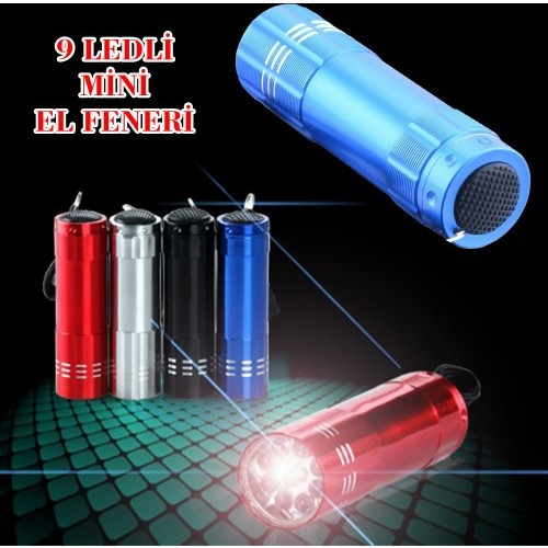 Helen's Süper Parlak 9 Ledli Metal Mini El Feneri-Mavi