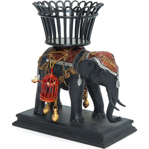 Beymen Home G&C Interiors Elephant W/Basket Left Kahverengi Biblo