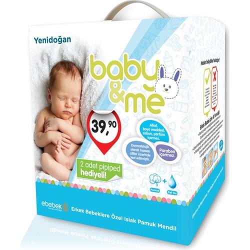 baby&me Islak Yenidoğan Pamuk Mendil Erkek 12 Paket