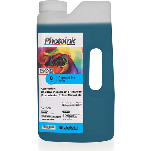 Photo Ink Dx5 ve Dx7 Kafalar İçin 1000 Ml Mavi Cyan Pigment Plotter Mürekkep (T-Pnd)