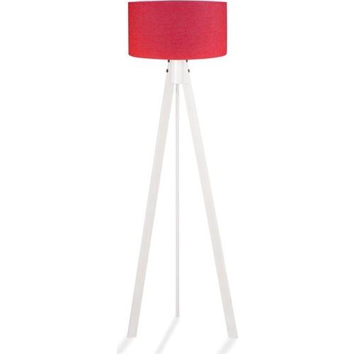 Binbirmarka Kumaş Başlıklı 3 Ayaklı Tripod Lambader - Kırmızı / Beyaz